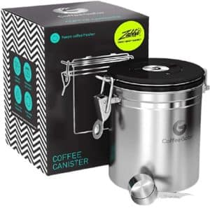 Coffee Gator Stainless Steel Coffee Container: Coffee Container with Scoop